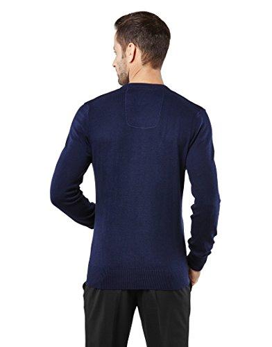 Vincenzo Boretti Herren-Pullover V-Ausschnitt slim-fit tailliert Strick-Pullover V-Neck einfarbig Baumwolle-Mix edel elegant leicht Fein-Strick für Business oder Casual Dunkelblau
