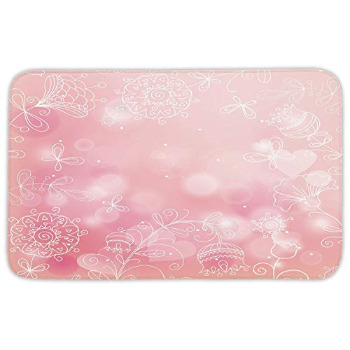 WYICPLO Rectangular Area Rug Mat Rug,Light Pink,Ethnic Doodle Style Garden Plants Butterflies Romantic Spring Composition,Light Pink White,Home Decor Mat with Non Slip Backing,31.5 X 19.68 Inch (Foam Frames Halloween)