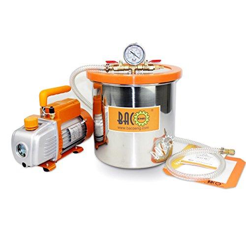 BACOENG 12L Vakuumkammer mit 85L/Min Einstufige Vakuumpumpe Unterdruckpumpe mit Manometer HVAC Test