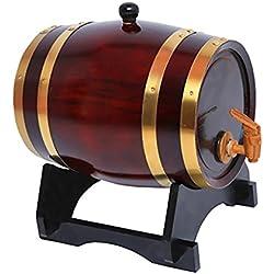 Gazechimp Barril con Grifo de Madera para Cerveza Vino Whisky Ron Keg Homebrewing Fiesta Casa de 1,5L Vino Tinto