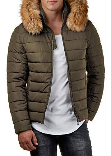 Herren Winter-Jacke Kunst-Fell-Kapuze Gesteppt Schwarz Khaki BR316, Größe:L, Farbe:Khaki Schwarze Jacke Mit Fell Kapuze