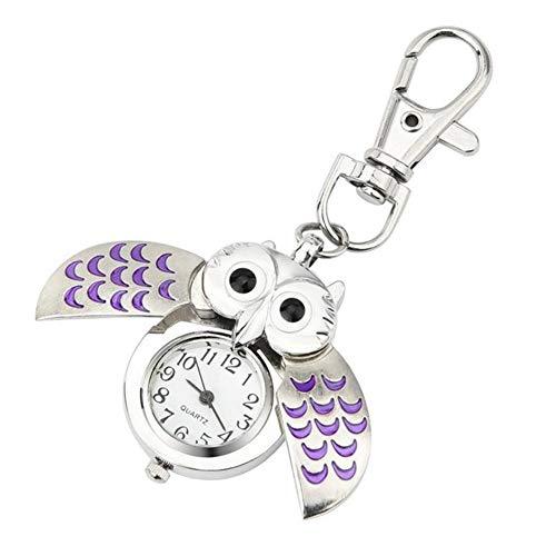 Spaufu - Taschenuhr in Eulenform als Schlüsselanhänger für Auto, Rucksack, Handtasche, Taschen, als Hängeornament für Herren, Damen, Mädchen als Geschenk oder Zubehör violett