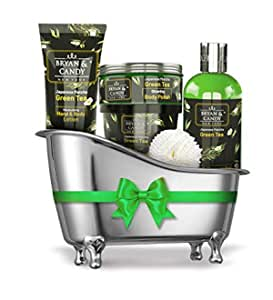 Bryan & Candy New York Green Tea Bath Tub Kit Gift for Women And Men Combo For Complete Home Spa Experience (Shower Gel, Hand & Body Lotion, Sugar Scrub, Body Polish)