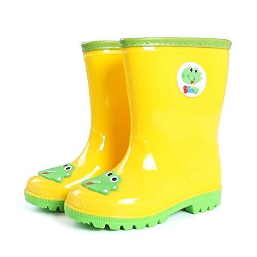 CKH Outdoor Reisen Kinder Regen Stiefel Licht Und Bequeme Dinosaurier Junge Baby Gummistiefel Regen Stiefel Mode Mädchen Wasser Schuhe In Der Röhre (Color : Yellow, Size : 32) - Stiefel Kleinkind-gelb Regen