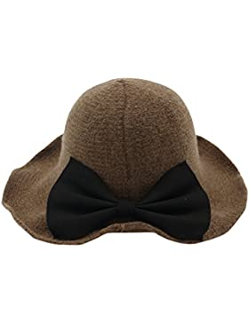 Zhhlaixing Mujeres Korea Style Vintage Invierno Sombrero Knit Bowknot Wool Cloche Bucket Bowler Sombrero Collapsible...