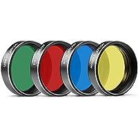 Kit de filtros Neewer® de 3,17cm de Cuatro Colores (Rojo/Amarillo/Verde/Azul) para Ocular de telescopio, observación Lunar/planetaria, con Estructura de Aluminio y Cristal óptico Premium