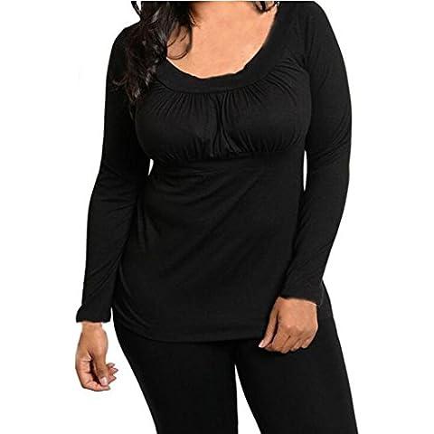FEITONG Las mujeres más el tamaño de la moda de manga larga La camisa ocasional top de la blusa de la
