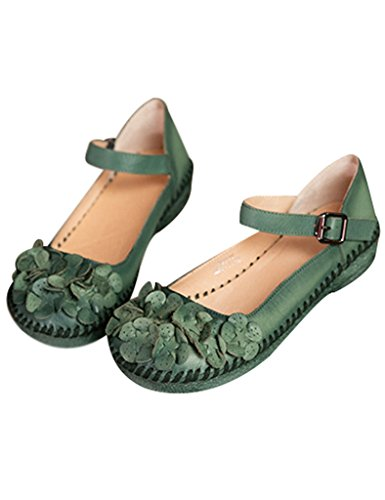 Youlee Femmes Fait Main Fleurs Boucle Cuir Chaussures Vert