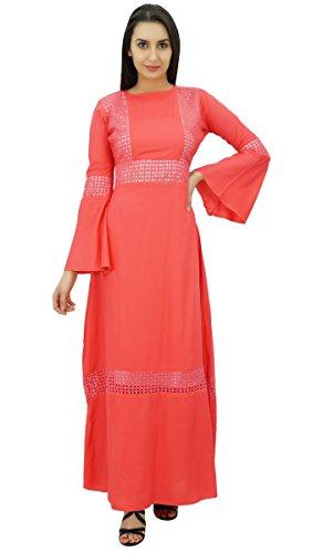 Bimba Frauen Kimono Ärmel Maxi Lange Boho Gothic Jilbab Kleid Rayon Pfirsich