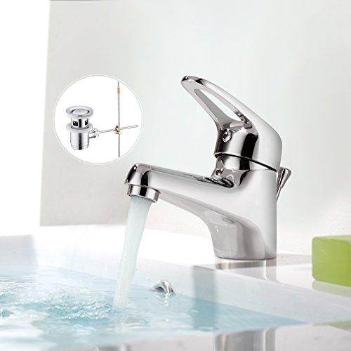 BONADE Chrom Wasserfall Einhand-Waschtischarmatur mit Pop-Up-Ablaufgarnitur Wasserhahn Bad Armatur für Badezimmer Waschbecken