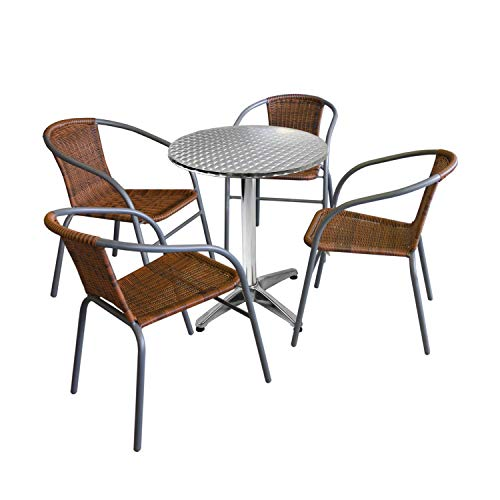 Wohaga 5tlg. Bistro- und Balkongarnitur Tisch Ø60cm Silber + 4 Polyrattan-Stapelstühle Grau/Cappuccino Gartengarnitur Balkonmöbel Terrassenmöbel Set Sitzgruppe -