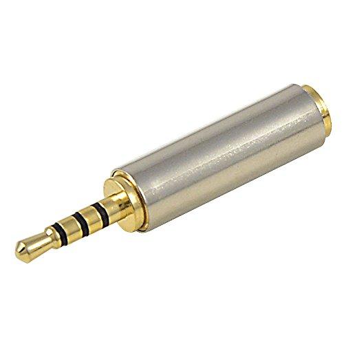 MENGS® Dorado + Mini iPhone de acero de 2,5mm a 3,5mm conector macho de acero al adaptador de auriculares de Audio / Música / Vídeo AV