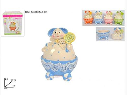 Cofanetto colorato coniglio c/merletto in ceramica decorazione pasqua pasquale