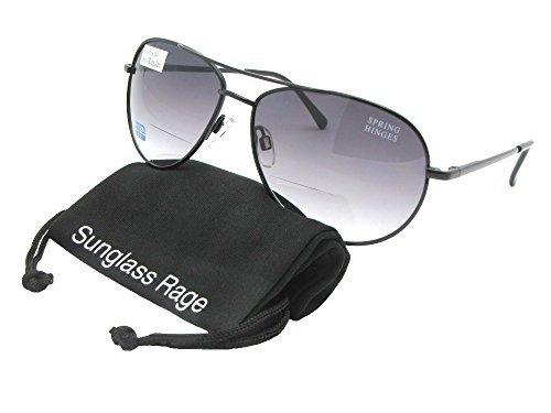 Rage Style B1 Aviator Bifocal Sunglasses (Black Frame-Gray Lenses