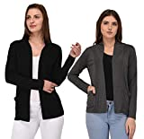 Espresso Women's Full Sleeve Front Open Viscose Shrug / Cardigan with Pocket - Pack of 2
