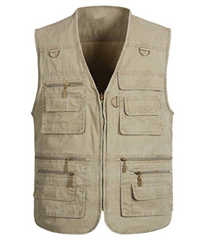 Cheerlife Herren Outdoor Sport Weste mit 16 Taschen Reißverschluss Multi-Taschen Weste Angeln Vest für Camping Jagd Fischen Khaki 3XL -