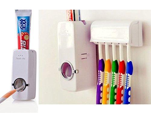 Fineway. Dispensador automático de Pasta de Dientes con Soporte de Pared para cepillos de Dientes...