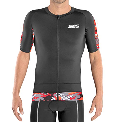 SLS3 Triathlon Top | Aero Jersey Kurzarm |Aerodynamisches Triathlon Shirt mit Ärmeln |Radtrikot (Black/Red Camo, L)