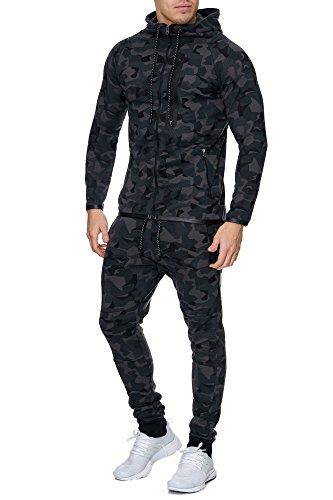 Violento Herren Camouflage Army Jogginganzug Jogging Hose Jacke Sportanzug Military Schwarz L