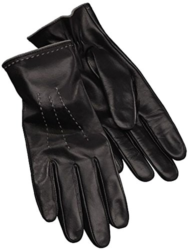 Esmara® Damen Leder-Handschuh mit grauen Nähten, Nappaleder (Gr. 7 - schwarz)