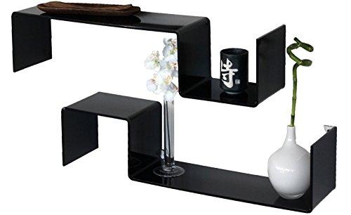 YELLOO 2 étagères Design Noir Brillant à Mural Salon pour Chambre Gisy N