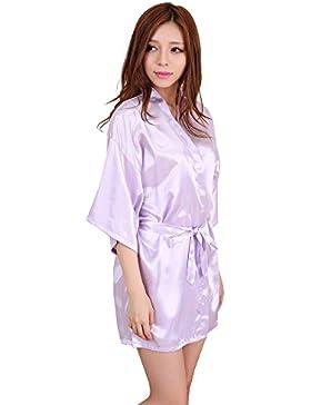 GL&G La signora abito kimono abito elegante sexy sottile cardigan breve paragrafo accappatoio viola comodi pigiami...