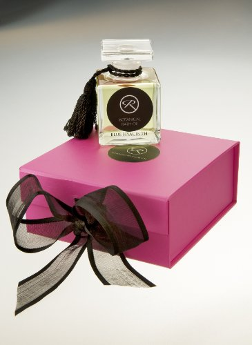 THE GIFT BOXED 50ml GLASS DECANTER of 'Blue Hyacinth' Botanical Bath Oil by RHODES TO HEAVEN