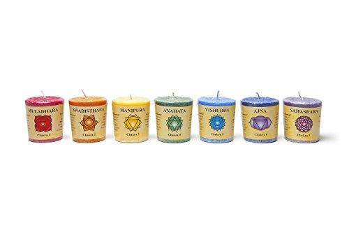 7 Chakra Kerzen in Box mit ausführlicher Chakrainfo