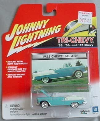 Johnny Lightning Tri-Chevy 1955 Chevy Chevy Chevy Bel Air BLUE convertible by Playing Femmetis   Paquet Solide Et élégant  e57248