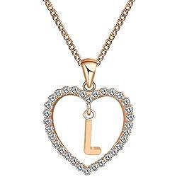 Tinaa Collier Pendentif Femme Coeur en avec Pendentif Lettre Zircon Cubique et Diamants Collier Cadeau pour Femme ou Fille (L)