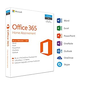 Microsoft Office 365 Home multilingual | 5 Geräte | 1 Jahresabonnement | PC/Mac | Box
