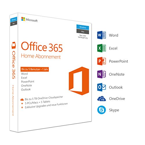 Microsoft Office 365 Home multilingual | 5 Geräte | 1 Jahresabonnement | PC/Mac | Download