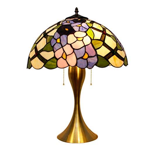 LYEJFF Nachttischlampe, Tiffany-Art-Schlafzimmer-Licht, Metallunterseiten-Nachttisch-Schreibtischlampe mit beflecktem Glasschirm für Haus, Café-Dekoration, E27, Ø30 / 40 / 50CM-50CM