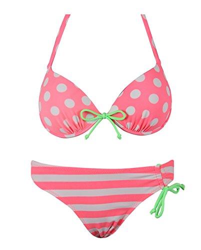 Push-Up Bikini Dots Stripes Triangolo Halter di RAE Donne Salmone 40/42