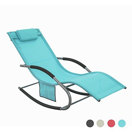 SoBuy OGS28-HB Fauteuil à bascule Chaise longue Transat de jardin avec repose-pieds et 1 pochette latérale, Bain de soleil Rocking Chair - Turquoise