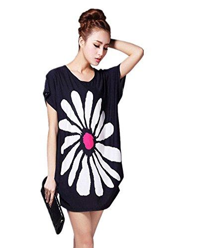 SaiDeng Femme Casual Imprimé Floral Manches Courtes En Vrac T-Shirt Blouses Image 2125