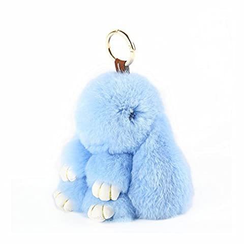 YISEVEN Bouquet de jouet en lapin farci - Rex Boucle de fourrure en lapin en peluche en peluche - Mignon ornement / Accessoires pour femmes Pendentif portable pour main (5,9 pouces)-bleu