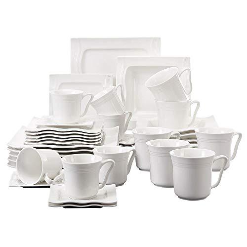 MALACASA, Serie Mario, 36 TLG. Cremeweiß Porzellan Geschirrset Kombiservice Tafelservice mit je 6 Stück Kaffeetassen, Kaffeebecher, Untertassen, Dessertteller, Suppenteller und Flachteller