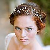 Jovono Hochzeit Haar Weinrebe Braut Stirnband Kopfschmuck mit Perlen für Frauen und Mädchen