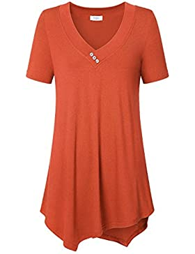Ca Kra Mujeres Casual Tallas Grandes Camiseta Camisa Manga Corta Pañuelo Dobladillo Túnica Top