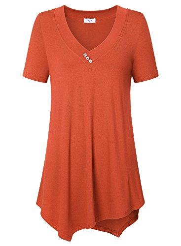 Ca Kra Damen Kurzarm Oberteil Tunika Loses T-Shirt Bluse Sommer(Orange M)