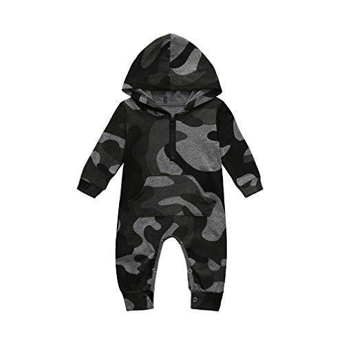 UOMOGO Bambino Pagliaccetti con Cappuccio Bimba Tutina Hooded Body Manica Lunga Cotone Outfits 0-24 Mesi (età: 3M, Nero)