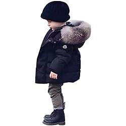 Chic-Chic Blouson Manteau Fourrure Chaud Enfant Garçon Fille Doudoune à Capuche - Veste à Manches Longues Sport bébé Ski Vêtement Noir 18-24mois