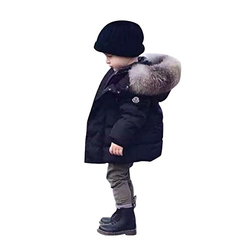 CHIC-CHIC Kids Baby Boys Winter Hoodie Hooded Puffer Coat Warm Thicken Down Jacket Outwear (Black, 3-4 Years)