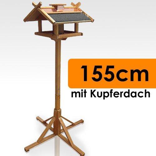 Vogelhaus mit Ständer Kupferdach Futtersilo 155cm - 3