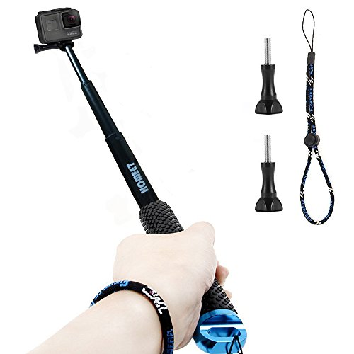 GoPro Selfie Bastone, Homeet Selfie Stick Retrattile Lega di Alluminio Impermeabile Antiruggine Adjustable per GoPro Hero 5/4/3+/3/2/Session, SJCAM/SONY HDR FDR/Garmin Virb XE/Xiaomi Yi 4K/DBPOWER/QUMOX /Akaso/Apeman/TECTECTEC【Blu】