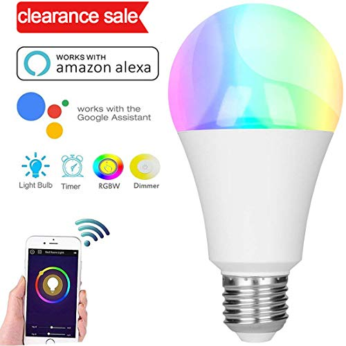 Alexa lampe glühbirne, Smart wifi led lampe, E27 Birne RGBW Glühbirne Kompatibel Mit Amazon Alexa und Google Home, Dimmbare, 60W äquivalent,bis zu 16 Millionen Farben, Steuerbar via App, 7W