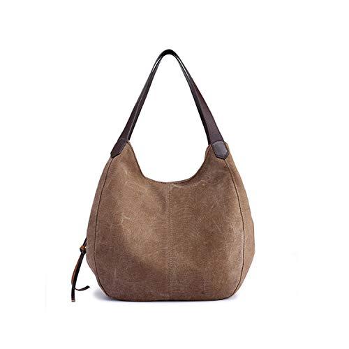 Dusk Fort Tasche Vintage-Segeltuch-Schulter-Beutel-Frauen-Handtaschen,Kaffee -