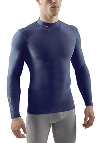 Sub Sports Herren Cold Kompressionsshirt Thermisch Funktionswäsche Base Layer Langarm Mock Stehkragen, Navy, XL