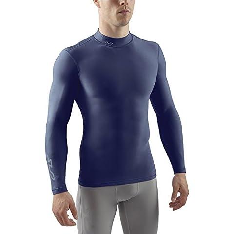 Sub Sports Uomo Cold Maglietta a compressione Thermisch Biancheria intima tecnica Base Layer a maniche lunghe Mock Stehkragen, Blu (Navy), M